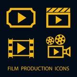 Insieme piano dell'icona di produzione cinematografica Immagini Stock Libere da Diritti