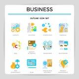 Insieme piano dell'icona di progettazione della gestione di impresa illustrazione vettoriale