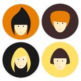 Insieme piano dell'icona di stile di capelli del fronte della donna Innesta l'icona Immagine Stock
