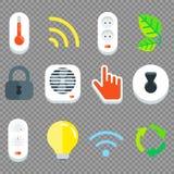 Insieme piano dell'icona di tecnologia della casa intelligente di vettore Fotografie Stock Libere da Diritti