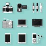 Insieme piano dell'icona dispositivo Stile bianco Fotografia Stock