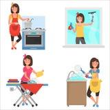 Insieme piano dell'illustrazione di colore di lavoro domestico a casa Fotografie Stock