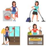 Insieme piano dell'illustrazione di colore di lavoro domestico a casa Fotografia Stock