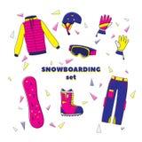 Insieme piano dell'illustrazione di vettore di progettazione dell'icona dell'attrezzatura dello snowboard Azzurro, scheda, pensio Fotografia Stock