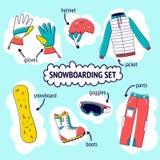 Insieme piano dell'illustrazione di vettore di progettazione dell'icona dell'attrezzatura dello snowboard Azzurro, scheda, pensio Immagine Stock