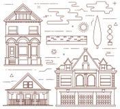 Insieme piano dell'illustrazione Elementi del villaggio e di urbani Immagine Stock Libera da Diritti