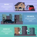 Insieme piano dell'insegna dei bassifondi del ghetto illustrazione vettoriale