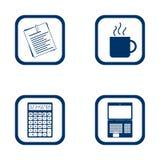 Insieme piano dell'ufficio delle icone di progettazione Immagini Stock Libere da Diritti