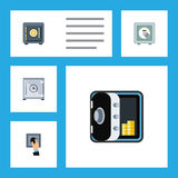 Insieme piano della cassaforte dell'icona del risparmio, della cassaforte, delle attività bancarie e di altri oggetti di vettore  Fotografia Stock Libera da Diritti