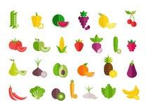 Insieme piano delle icone delle verdure e della frutta Progettazione piana variopinta per le insegne di web, siti Web, materiali  illustrazione vettoriale