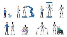 Insieme piano delle illustrazioni di vettore di tecnologia robot Caratteri dei cyborg, degli adulti e dei bambini Tecnologia futu royalty illustrazione gratis