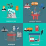 Insieme piano di concetto delle icone di colore di industria del GUS e dell'olio Fotografia Stock
