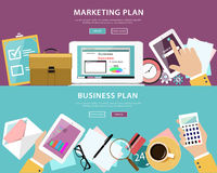 Insieme piano di concetto di stile del business plan e del piano di vendita nel web design Immagine Stock Libera da Diritti