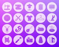 Insieme piano di cucito di vettore delle icone scolpito forma royalty illustrazione gratis