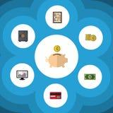 Insieme piano di guadagno dell'icona del contatore, del pagamento, del dollaro e di altri oggetti di vettore Inoltre include la c Immagini Stock