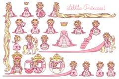 Insieme piano di principessa di vettore piccolo royalty illustrazione gratis