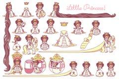 Insieme piano di principessa di vettore piccolo illustrazione di stock