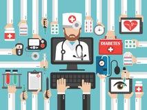 Insieme piano di progettazione dei diabets online medici del computer illustrazione di stock