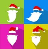 Insieme piano di Santa Claus Face di vettore di progettazione illustrazione di stock