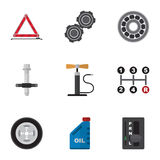 Insieme piano di servizio dell'icona di benzina, della trasmissione automatica, della gomma e di altri oggetti di vettore Inoltre Immagini Stock