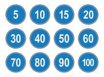 Insieme piano di stile di vettore dei segni generici limite di velocità del minimun illustrazione di stock