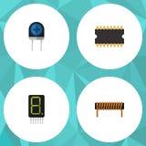 Insieme piano di tecnologia dell'icona della bobina, dell'esposizione, del microprocessore e di altri oggetti di vettore Inoltre  Immagini Stock