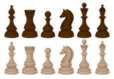 Insieme piano di vecror dei pezzi degli scacchi Brown e figure di legno beige Gioco da tavolo strategico illustrazione vettoriale