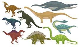 Insieme piano di vettore degli animali preistorici Dinosauri e mostri marini Creature selvagge a partire dal periodo giurassico royalty illustrazione gratis