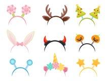 Insieme piano di vettore dei cerchi festivi dei capelli Accessori capi svegli per i partiti di festa Attributi dei costumi illustrazione di stock
