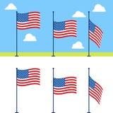 Insieme piano di vettore delle bandiere di U.S.A. Fotografia Stock Libera da Diritti