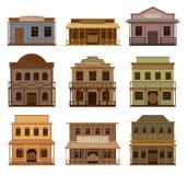 Insieme piano di vettore delle case occidentali di legno Saloni vecchi con le porte a battenti e le insegne in bianco Costruzioni royalty illustrazione gratis