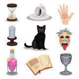 Insieme piano di vettore delle icone di divinazione Attributi rituali Gatto nero, tazza con i motivi di caffè, pozione, libro, ca royalty illustrazione gratis