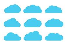 Insieme piano di vettore delle nuvole Fotografie Stock