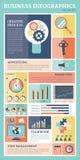 Insieme piano di vettore di infographics delle icone di retro affari Illustrazione di Stock