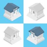 Insieme piano isometrico semplice di vettore della banca Immagine Stock