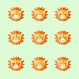 Insieme piano minimalistic dell'icona di emozioni del leone di vettore Fotografia Stock