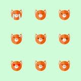 Insieme piano minimalistic dell'icona di emozioni della volpe di vettore Immagini Stock