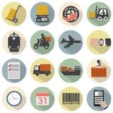 Insieme piano moderno dell'icona di logistica di progettazione Fotografie Stock Libere da Diritti
