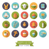 Insieme piano rotondo dell'icona di progettazione di simboli di Pasqua Fotografia Stock Libera da Diritti