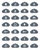 Insieme piano semplice dell'icona delle nuvole. Immagine Stock