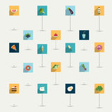 Insieme piano semplicemente minimalistic dell'icona di simbolo di dieta e dell'alimento. Fotografia Stock