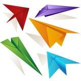 Insieme piegato di variazione dell'aeroplano di carta di origami Fotografia Stock