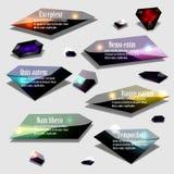 Insieme poligonale astratto dell'insegna dell'etichetta della bolla del gioiello Fotografia Stock