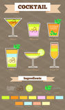 Insieme popolare del cocktail Fotografia Stock Libera da Diritti