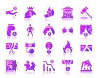 Insieme porpora semplice di vettore delle icone di pendenza di fallimento illustrazione di stock