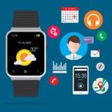 Insieme portabile moderno di Smartwatch Immagini Stock Libere da Diritti