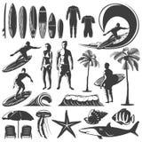 Insieme praticante il surfing dell'icona Immagini Stock