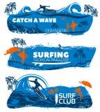 Insieme praticante il surfing dell'insegna illustrazione di stock