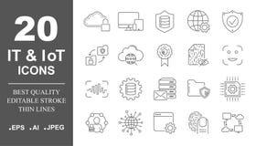 Insieme premio della rete, l'IT, linea icone di IoT Pacchetto semplice dei pittogrammi Illustrazione di vettore del colpo su un f illustrazione vettoriale