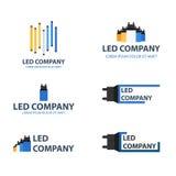 Insieme principale di logo della lampadina Logo principale della società Illuminazione del LED Logo Design corporativo Immagine Stock